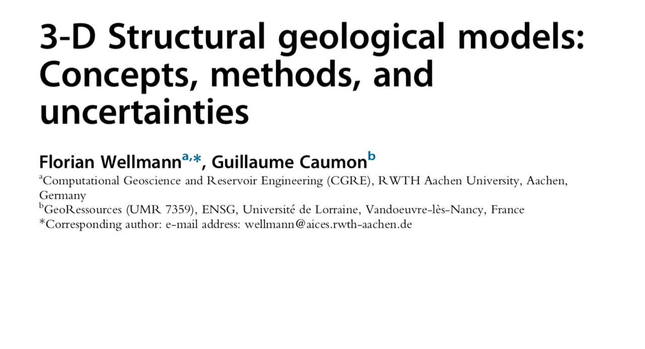 Paper 3D Structural geological models: Concepts, methods and uncertainties